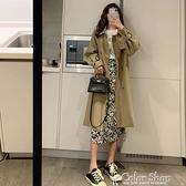 小個子風衣女中長款顯高氣質墜感韓版寬松流行工裝外套秋季 快速出貨