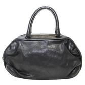CHANEL 香奈兒 黑色牛皮車線手提包 CC Charm Boston Handbag【二手名牌BRAND OFF】