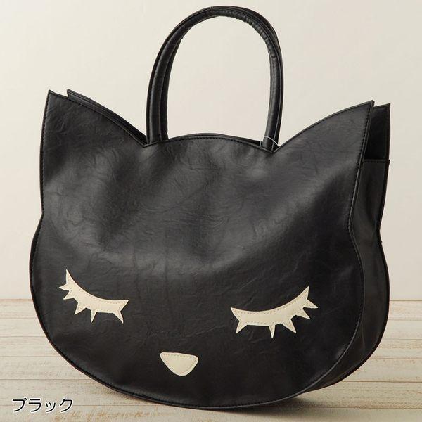 買就送925純銀項鍊-托特包-日本正版【Pooh Chan-噗將閉眼貓】大托特雜誌包-銷量第一款