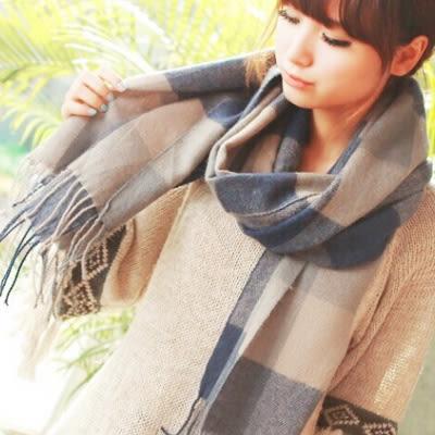 披肩圍巾 格紋仿羊绒流蘇長款圍巾 (8色)【Ann梨花安】