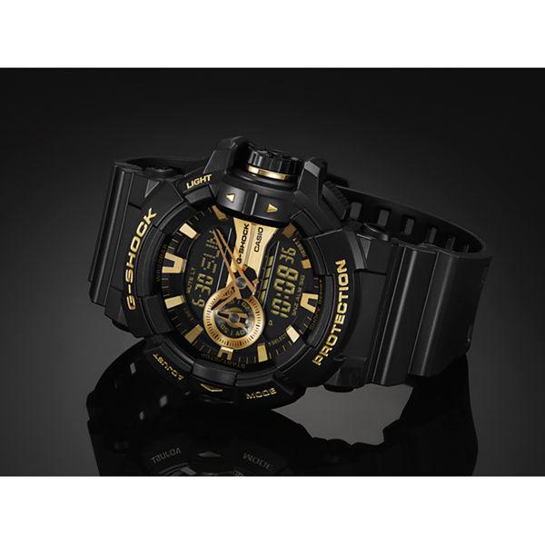 CASIO卡西歐 G-SHOCK 金屬系雙顯手錶-經典黑金 GA-400GB-1A9 / GA-400GB-1A9DR