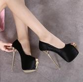 特賣恨天高歐美新款時尚性感恨天高16cm超高跟金屬細跟防水臺魚嘴女單鞋