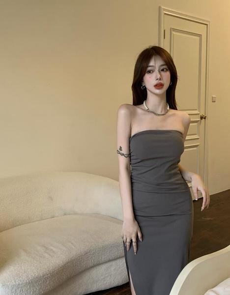 抹胸洋裝 一字肩抹胸連身裙復古氣質開叉包臀中長裙女裝夏季2021年新款裙子 非凡小鋪