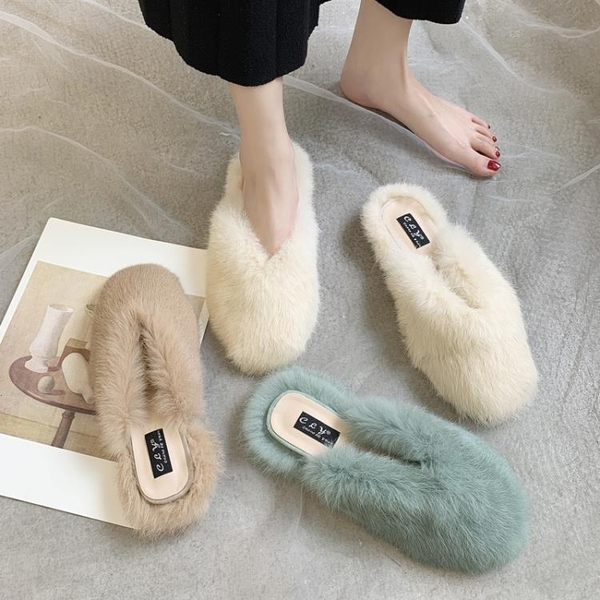 網紅同款毛毛拖鞋女2020新款外穿穆勒鞋平底瀨兔毛包頭懶人半拖鞋 後街五號