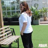 大碼女裝遮肚子t恤胖mm寬鬆短袖上衣200斤加肥加大純棉白色打底衫 全館8折