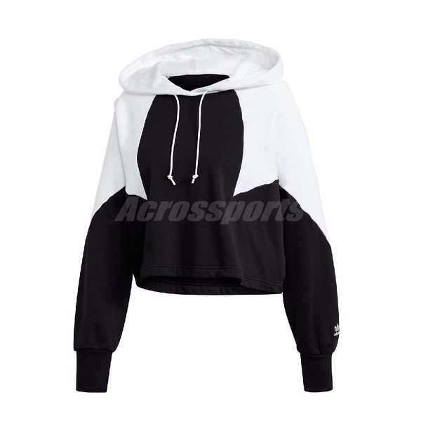 adidas 長袖T恤 Large Logo Crop Hoodie 黑 白 女款 帽T 短版 運動休閒 【ACS】 GD2404