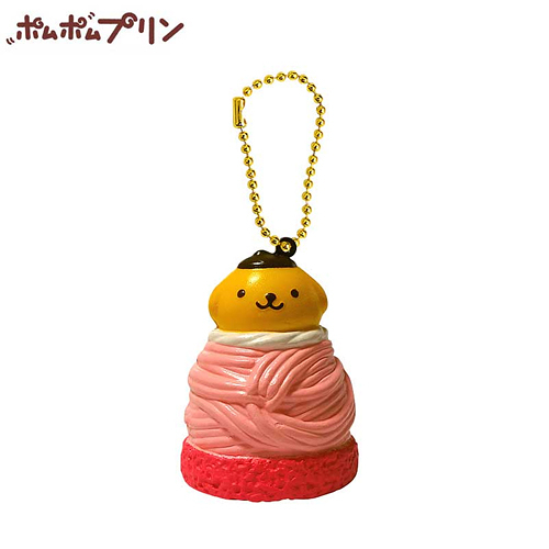 【日本正版商品】 布丁狗 粉紅色款 蒙布朗 捏捏吊飾 美食 吊飾 擺飾 捏捏樂 Pom Purin 三麗鷗 - 610591