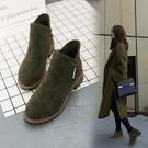 春秋季新款英倫風女短靴子冬馬丁靴磨砂粗跟中跟百搭學生女鞋