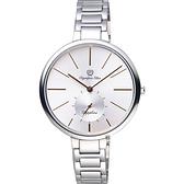 Olympia Star奧林比亞 超薄小秒針手錶-銀/37mm 28031MS銀