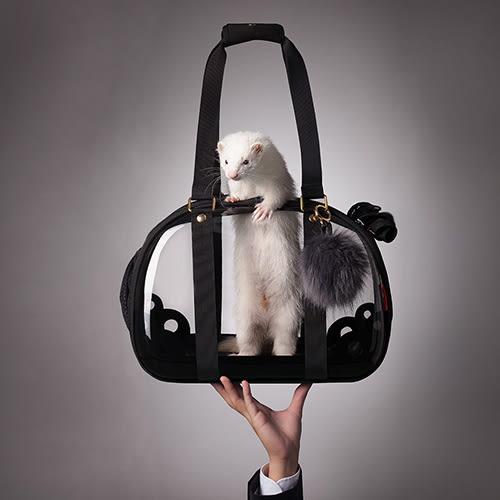 Petland寵物樂園《IBIYAYA依比呀呀》輕巧摺疊小瓏包FC1620-BL(澎澎黑)/寵物外出包【免運】