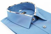 【金‧安德森】經典格紋繞領深藍色吸排窄版長袖襯衫
