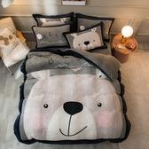 預購-極柔加厚法蘭絨床包四件組-雙人-萌萌熊