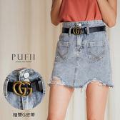 PUFII-短裙 雙釦口袋牛仔短裙-附雙G皮帶-0627 現+預 夏【CP16980】