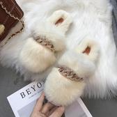 秋季拖鞋秋季毛毛鞋新款網紅毛毛拖鞋女外穿時尚女鞋羊羔毛棉拖半拖潮 聖誕交換禮物