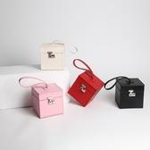 手提包-真皮時尚純色方形盒子女手拎包4色73tn15【巴黎精品】