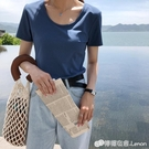 網紅短袖ins潮寬鬆T恤女夏裝新款女裝純色打底衫內搭韓版上衣 檸檬衣舍