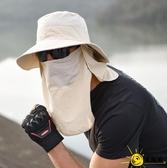遮陽帽 帽子男夏天漁夫帽戶外登山遮臉防曬帽防紫外線釣魚太陽帽女