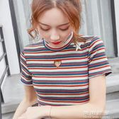 Mg條紋t恤女夏裝打底針織衫復古港味chic短袖上衣潮 可可鞋櫃