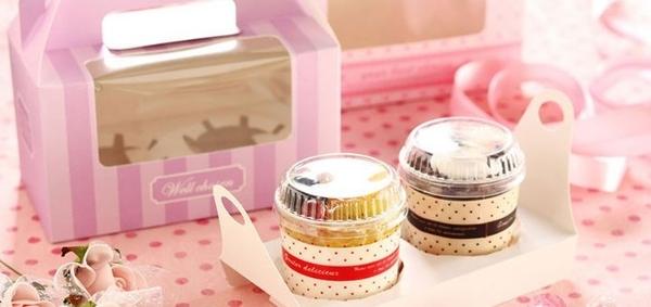 2格 粉色 透明櫥窗手提盒 杯子蛋糕盒【C077】