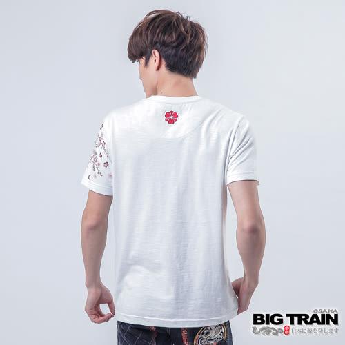 BIG TRAIN 櫻花虎嘯圓領T-男-白色︱墨達人系列