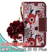 IPhone X XS Max XR 6.1吋 6.5吋 紅色向日葵 皮套 手機皮套 皮套 掛繩 吊飾 手機殼 保護套