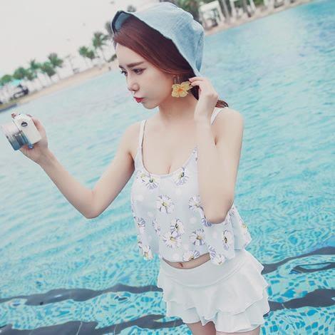 喬依 韓版兩件 分體群式 保守粉色 藍色 無鋼圈 比基尼泳衣泳裝bikini je 【730A】