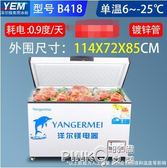 洋爾鎂臥式冰櫃商用大容量家用冷櫃冷藏冷凍雙溫節能冰箱茶葉雪櫃CY  【PINKQ】