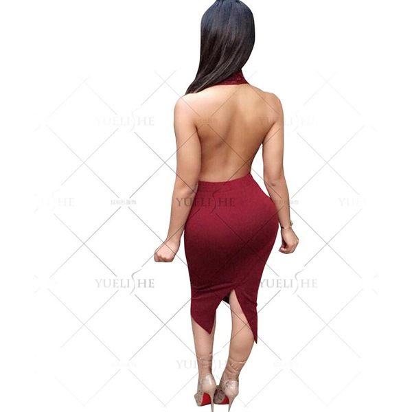 ♥♥衣美姬♥歐美繞頸 大露背V領連身長裙 性感火辣蕾絲 仿皮長裙 熱賣款