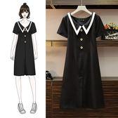 中大尺碼M-4XL洋裝連身裙新款大碼女裝胖mm遮肚長款連衣裙前後兩穿4F044-9973