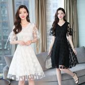 短袖洋裝 連身裙 氣質甜美蕾絲女收腰遮肚子大碼中長版裙子-巴黎時尚