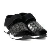 ALL BLACK 幾何魚口厚底涼鞋*槍身色