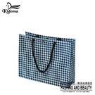 手提袋-編織方袋(L)-黑水藍千鳥-01C