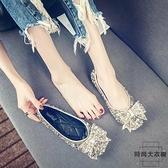 單鞋女淺口水晶女鞋百搭水鉆豆豆鞋滿鉆平底瓢鞋【時尚大衣櫥】