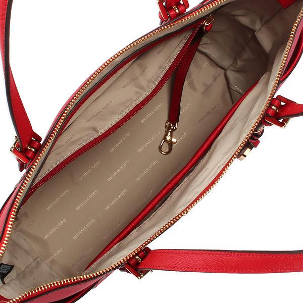 MICHAEL KORS Jet Set 防刮皮革雙側口袋托特包(紅色)611026-35