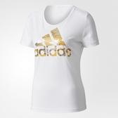 Adidas BOS FOIL [CD1956] 女 運動 休閒 圓領 短袖 上衣 舒適 棉T 愛迪達 白金
