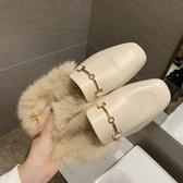 毛毛拖鞋女2020秋冬新款韓版百搭穆勒鞋chic平底包頭外穿半拖鞋女