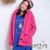 betty's貝蒂思 圈點印花太空領外套(桃紅)