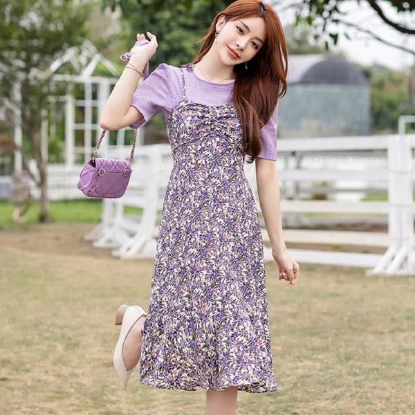 薰衣草紫細肩帶碎花兩件套連身裙(紫色上衣+紫碎花吊帶裙)[99198-QF]美之札