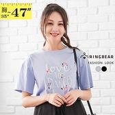 棉T--小清新浪漫花漾書寫體字母印花圓領短袖T恤(黑.藍L-3L)-T461眼圈熊中大尺碼