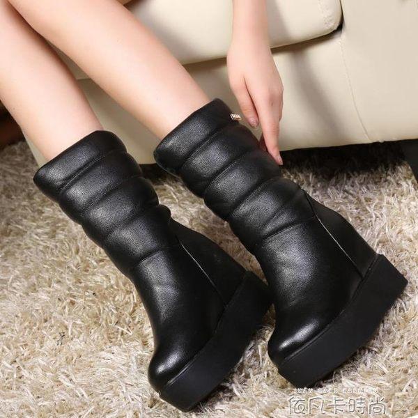 冬季真皮高筒加絨雪地靴女棉鞋鬆糕厚底內增高短靴坡跟中筒靴 依凡卡時尚
