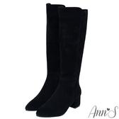 Ann'S返璞經典-前高後低防水絨布粗跟及膝長靴-黑