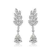 耳環 純銀鍍白金 鑲鑽-樹葉造型生日情人節禮物女飾品73cr32【時尚巴黎】