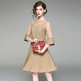 洋裝(兩件套)-吊帶圓領蕾絲拼接針織上衣女連身裙2色73of137【巴黎精品】