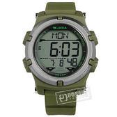 JAGA 捷卡 / M1192-F / 電子運動 倒數計時 計時碼錶 鬧鈴 日常生活防水 橡膠手錶 綠色 47mm