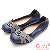 G.Ms.*MIT系列-牛皮方頭鬆緊帶鑽飾娃娃鞋*藍色