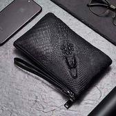 牛皮鱷魚紋長款錢包男士真皮拉鏈錢夾包手包商務手拿包休閒手抓包