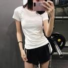 運動上衣 速乾T恤女運動衫短袖緊身顯瘦健身衣瑜伽上衣跑步半袖-Ballet朵朵