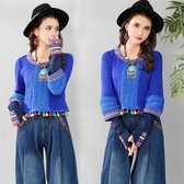 秋冬新款大尺碼女裝民族風毛衣女士針織衫七分袖上衣打底