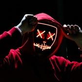 面具 萬圣節發光面具鬼步舞演出熒光面具抖音V字夜光面具EL閃光面具