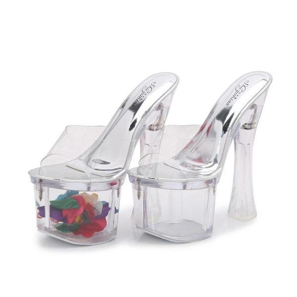 高跟鞋恨天高粗跟鞋女拖鞋18cm20公分超高跟性感涼拖走秀水晶透明拖鞋夏霓裳細軟